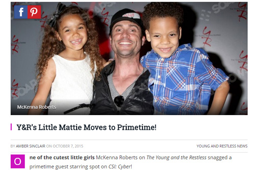 Y&R's Little Mattie Moves to Primetime!